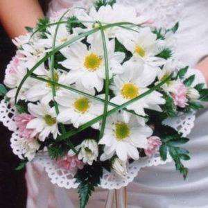 Букет №3  Невеста (15 ромашек, папоротник, берграс)